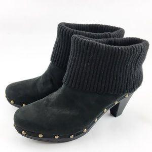 Kathy Van Zeeland Black Studded Mule Booties 9